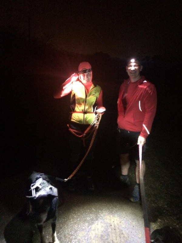 Running in the dark with bright head torches